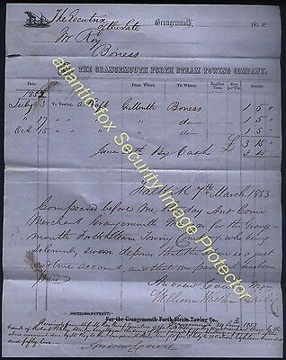 1852 Original GRANGEMOUTH FORTH STEAM TOWING Co Fine Billhead to Roy of Bo'ness