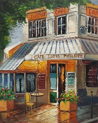 Cafe #8 ,  8x10 100% Hand painted Oil Painting on Canvas