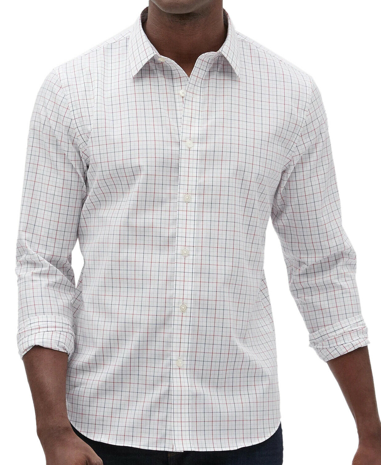 Banana Republic Men/'s Standard-Fit Non-Iron White Geo Print Shirt Size M NWT