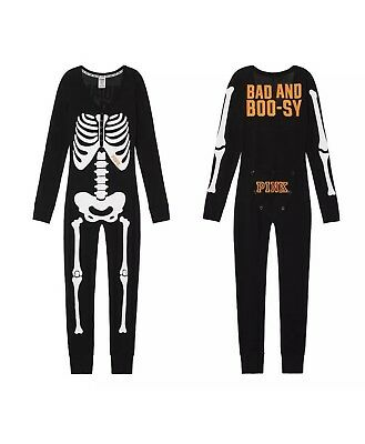 Victoria's Secret PINK Skeleton Long Jane Thermal Pajama Halloween Large L Union