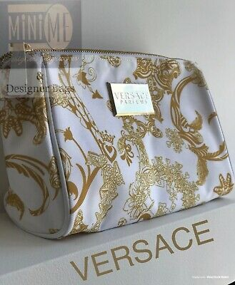 🆕💖💝VERSACE MAKE UP BAG COSMETIC POUCH Purse Gold & White FOR WOMEN!