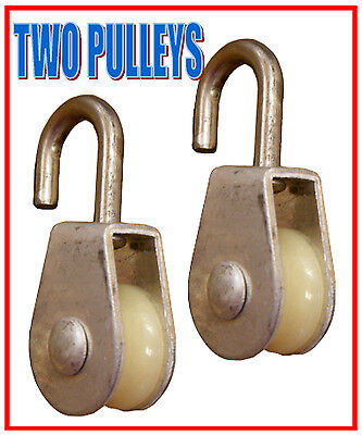 Two 2 - Single Wheel Rope Wire Sheave Pulley -aluminum Stainless Steel-new