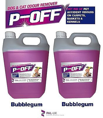 2x5L P-OFF P-OFF PET URINE SMELL ODOUR REMOVER- WEE FAECES POO CAT DOG BUBBLEGUM