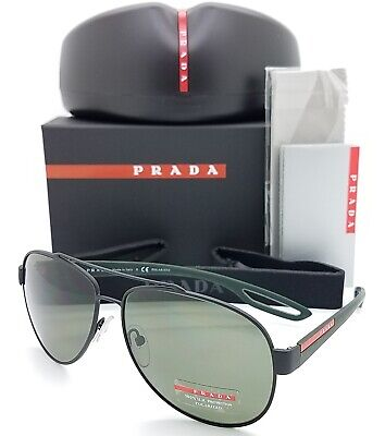 New Prada sunglasses Aviator PS 55QS DG05X1 Black Polarized Green AUTHENTIC (Prada Polarized Aviator Sunglasses)