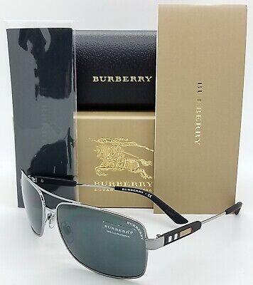 NEW Burberry Aviator Sunglasses BE3074 100387 63mm Gunmetal Grey AUTHENTIC (Burberry Gunmetal Sunglasses)