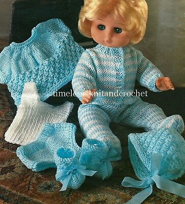 """KNITTING PATTERN FOR  BABY DOLL CLOTHES - BOOTEES, ALL-IN-ONE, HAT 14 -16"""" 4ply"""