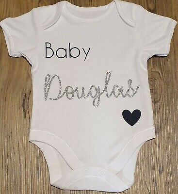 Personalised Baby Bodysuit Birth Announcement Surname & Due Date Baby Vest