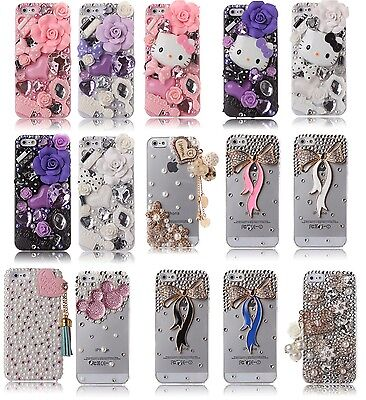(Luxury 3D New Crystal Design Rhinestone Gold Pink Diamond Bling Hard Cover Case)