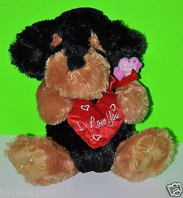 "TEDDY BEAR DOG PLUSH DOLL VALENTINE 12""-14"" CUTE BIRTHDAY GIFT BLACK PUPPY NWT"