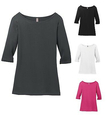 LADIES LIGHTWEIGHT, BOATNECK, ELBOW LENGTH 3/4 SLEEVE, COTTON, TOP T-SHIRT S-4XL