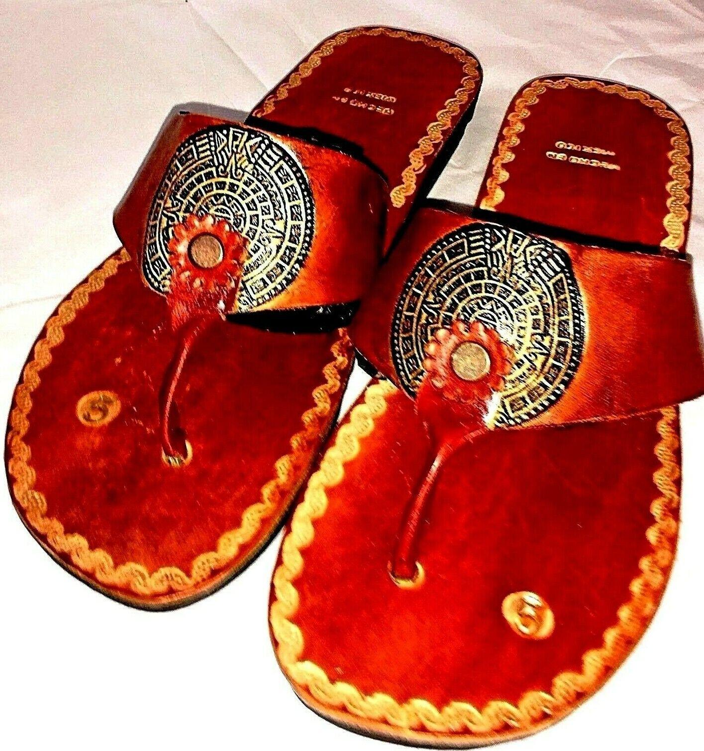 Brown Leather Mexico sandal huarache flip flop slip on Aztec