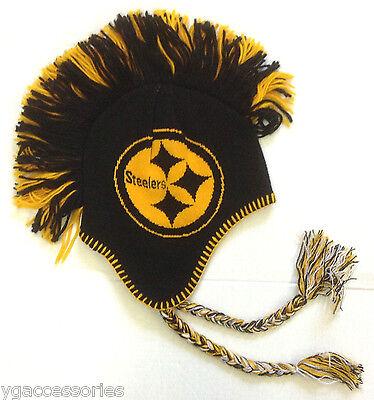NWT NFL Pittsburgh Steelers Reebok Youth Knit Mohawk Tassel Hat Cap Beanie NEW!