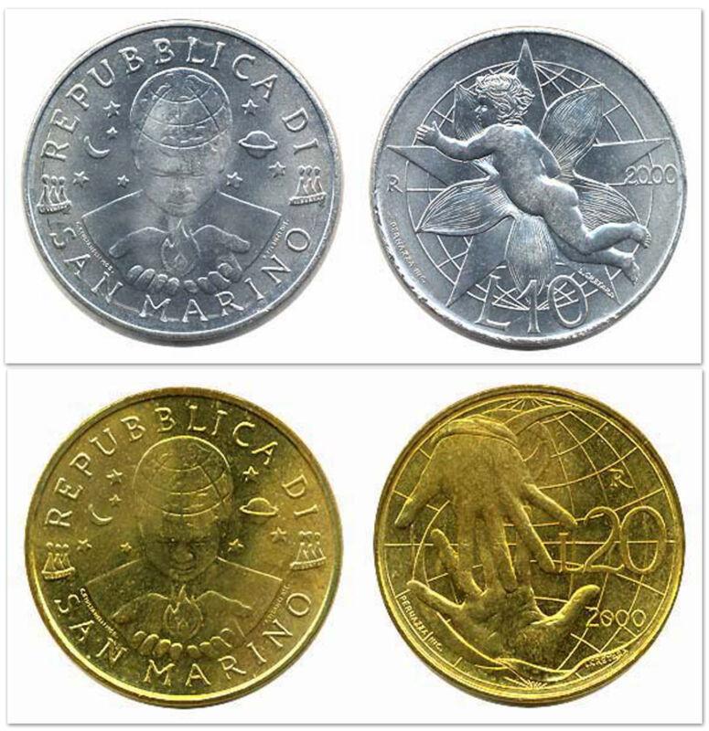San Marino 2000 10 & 20 Lire 2 Uncirculated Coin Set