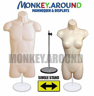 Set Mannequin Female Male Hanger Standbody Torso Display Dress Shirt-flesh
