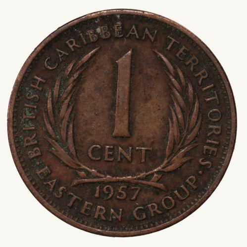 Raw 1957 British Caribbean 1C One Cent Coin