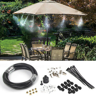 19.6FT Outdoor Misting Cooling System Fan Cooler Patio Water Mister Mist Nozzles ()