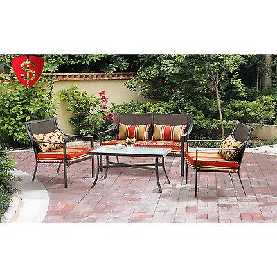 Patio Conversation Set Outdoor Furniture Table Chairs Wicker Garden Sofa Deck