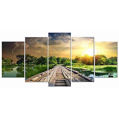 Painting Wall Art Canvas Print Picture Home Decor Landscape Bridge Lake Framed