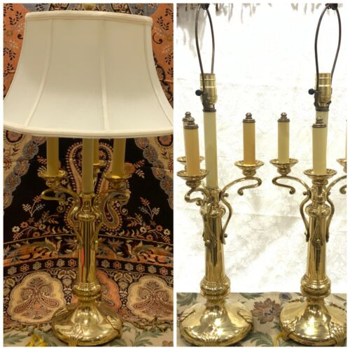 "Pair (2) 30"" Large Ornate Vintage French Brass Bouillotte 3/4 Candlestick Lamp"