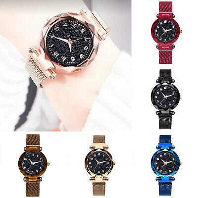 Women Stylish Starry Stainless Steel Magnetic Clasp Strap Quartz Analog Watch Jewelry & Watches