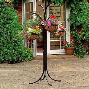 4 Arm Tree Cascade Hanging Basket Patio Stand Garden Plant Patio Planter New