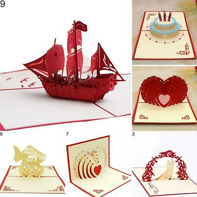 Heart Ship Birthday Cake Handmade 3D Pop Up Holiday Christmas Greeting Cards New - Holiday Cake Pops
