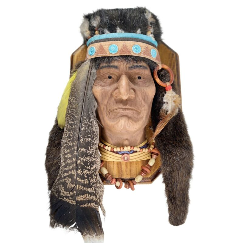 Native American Indian Chief Head Handcrafted Fur Feathers Wall Hanging Decor