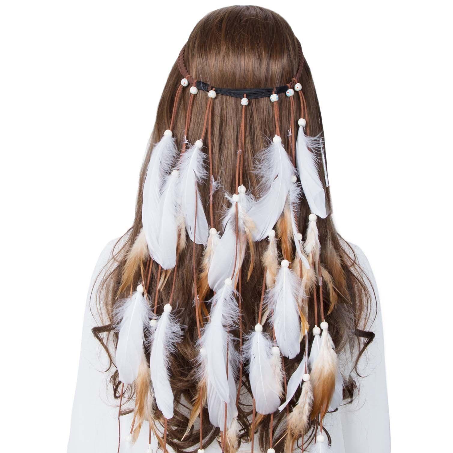 Boho Womens Indian Tassel Feather Hippie Tribal Headband Costume Carnival Party