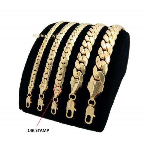 Mens Miami Cuban link Chain Necklace Bracelet 14K Gold Plated