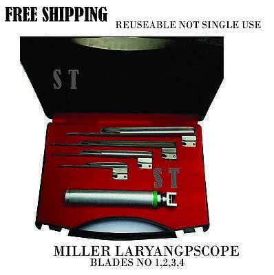 Premium Grade Miller Laryngoscope Set Surgical Veterinary Instruments