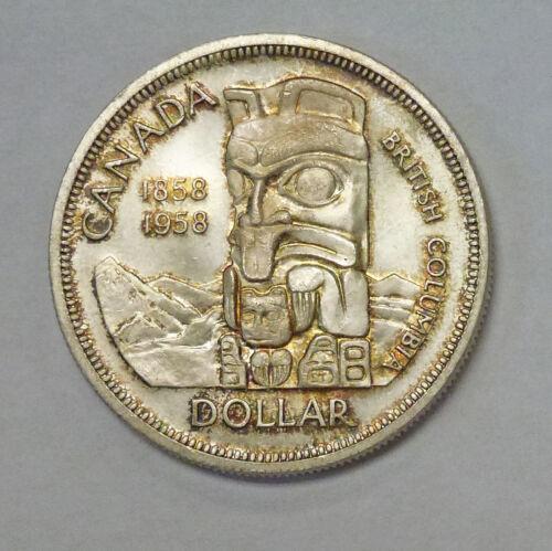 1958 CANADA British Columbia Totem DOLLAR RAINBOW Toning Silver BU