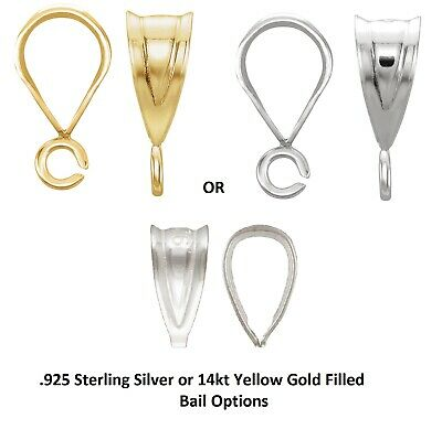 .925 Silver,14K,14KYGF Small Tapered Fluted Bail Loop w/wo Open Ring for -