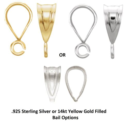 .925 Silver,14K,14KYGF Small Tapered Fluted Bail Loop w/wo Open Ring for Pendant