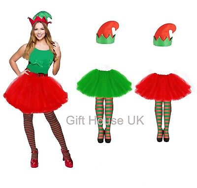 Ladies Girls Style Adult Christmas Party Set ELF TUTU COSTUME Fancy Skirt Dress  - 1950's Style Halloween Costumes