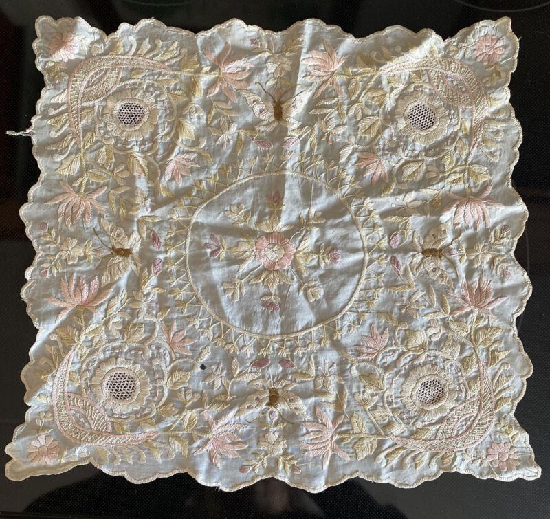 "Antique Hand Embroidered SOCIETY SILK 12""  Centerpiece Butterflies Flowers"
