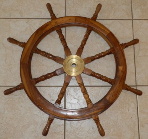 """Authentic Antique 8 Spoke 36"""" Wood and Brass Nautical Captain"""