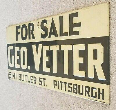 Vintage Original 1930s/1940s For Sale Geo.Vetter Embossed Tin Metal Sign