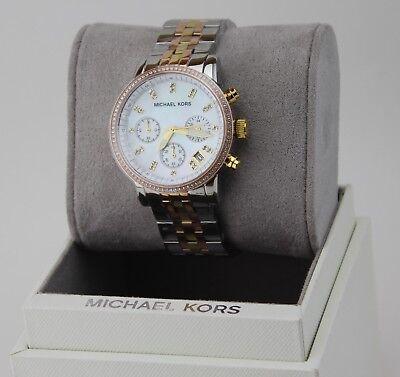 NEW AUTHENTIC MICHAEL KORS RITZ MIDSIZE SILVER ROSE GOLD WOMEN'S MK5650 WATCH