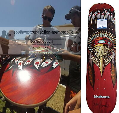 Tony Hawk Signed Red Birdhouse Native American Skateboard Deck Proof Beckett BAS