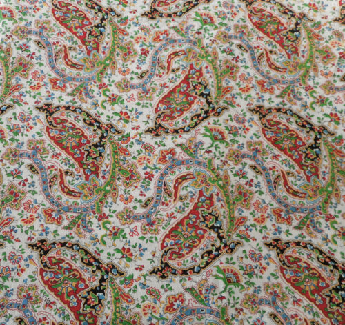 Antique Vtg. Floral Paisley Cotton Fabric ~ Red Green Blue Yellow Black