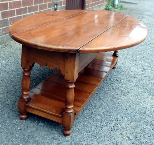 Details About Georgian Antique Style Farmhouse Solid Cherry Wood Dropleaf Coffee Side Table