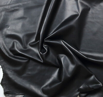 Smooth BLACK nappa Satin finish 0.7mm BARKERS HIDE & LEATHER N311