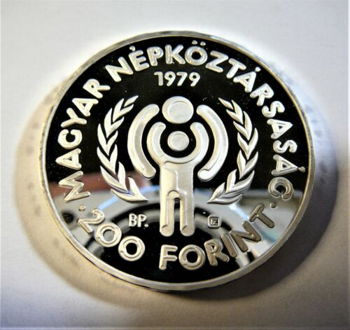 1979 HUNGARY 200 FORINT INTERNATIONAL YEAR OF CHILD  PROOF SILVER CROWN SB1