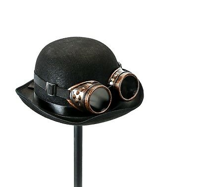 Steampunk Rivet Vintage Goggles And Black Derby Hat Cosplay Costume Burning man