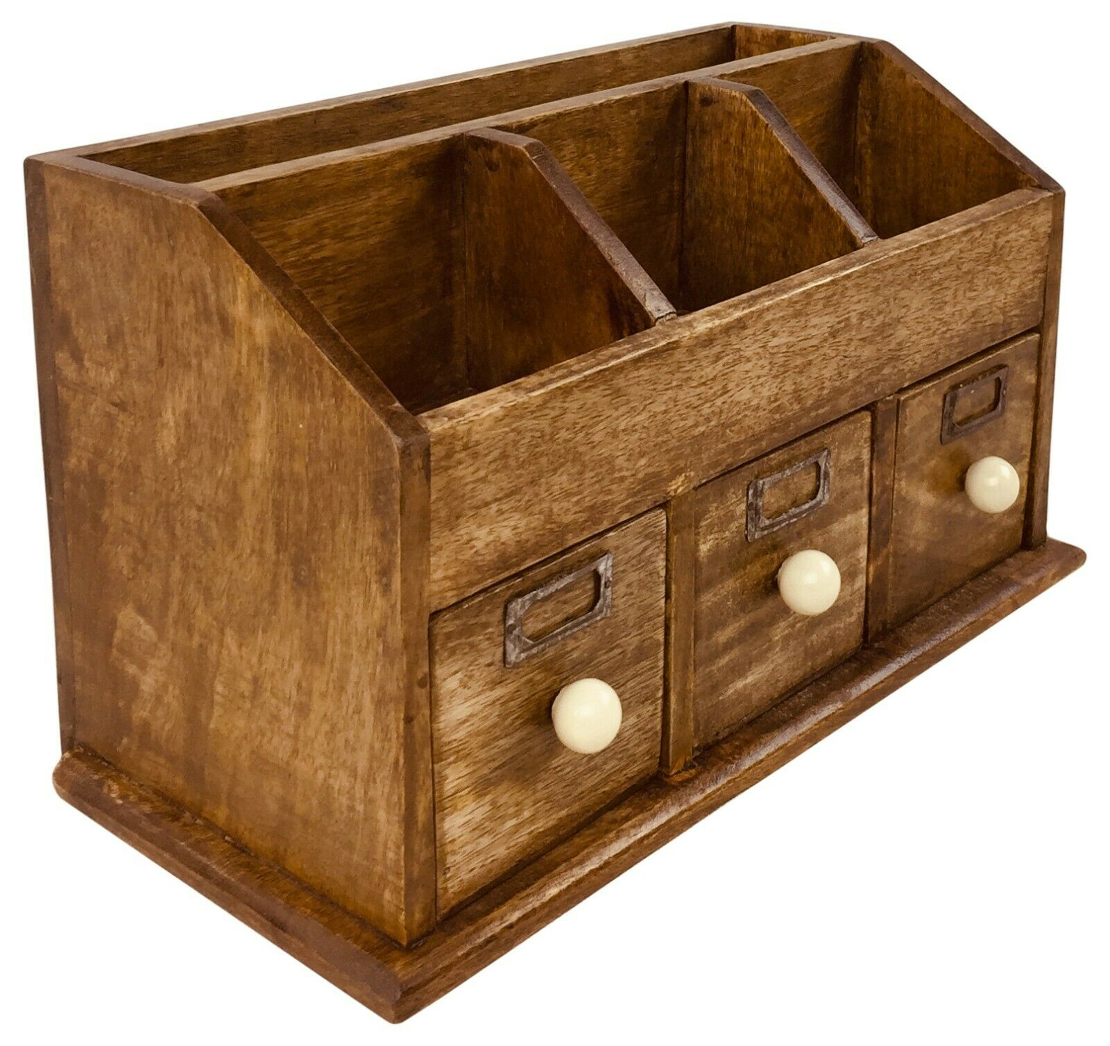 Details about Desk Top Organiser Wooden Rustic Storage With Drawers Home  Office