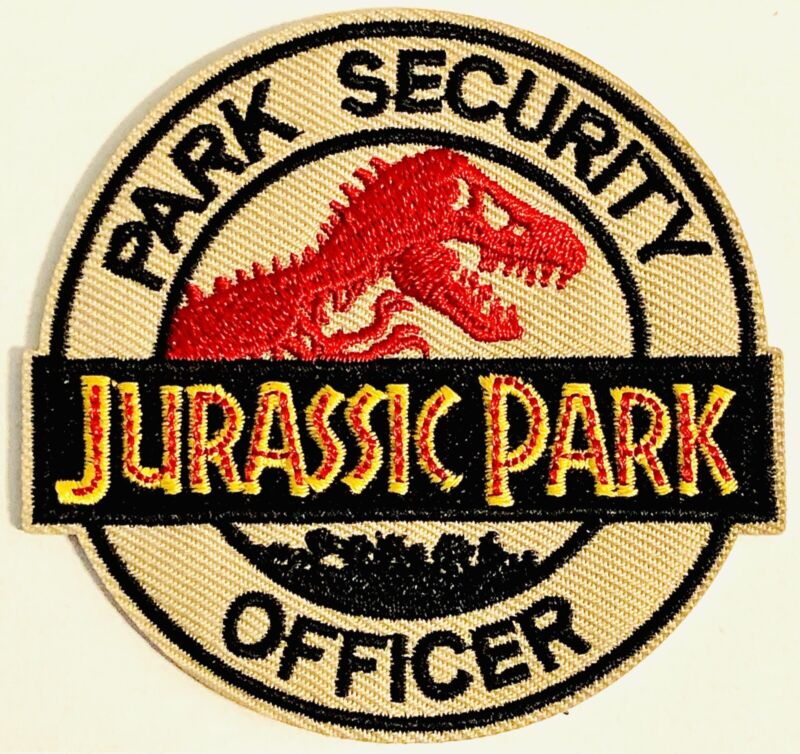JURASSIC PARK Patch SECURITY OFFICER Logo Iron On Embroidered Badge INGEN 🦖