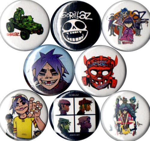 Gorillaz set of 8 pins buttons Murdoc 2-D Russell Noodle Demon Days Humanz