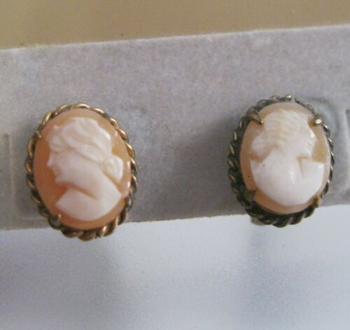 Vintage Genuine Cameo Earrings Hand Carved Shell 1940s Screw Back Gifts for Her