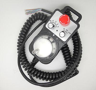 Universal Cnc 4 Axis Pendant Mpg Handwheel Emergency Stop Switch Controller Us