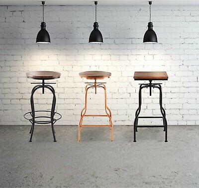 2x Industrial Metal Vintage Wood Adjustable Swivel Bar Stools Chairs